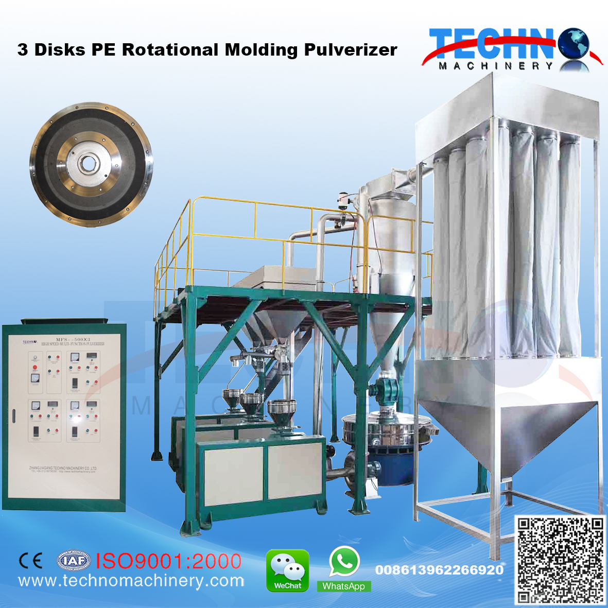 3 Disks Plastic Rotational Molding Pulverizer